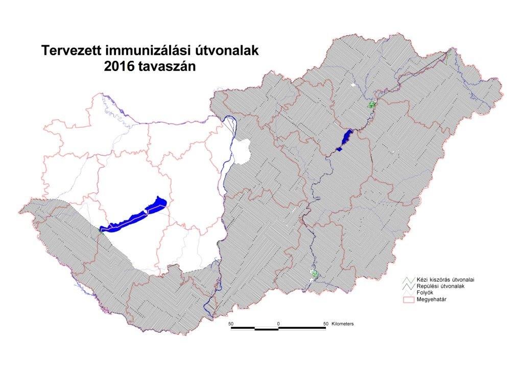 A 2016 tavaszán érvényes ebzárlat által érintett területek